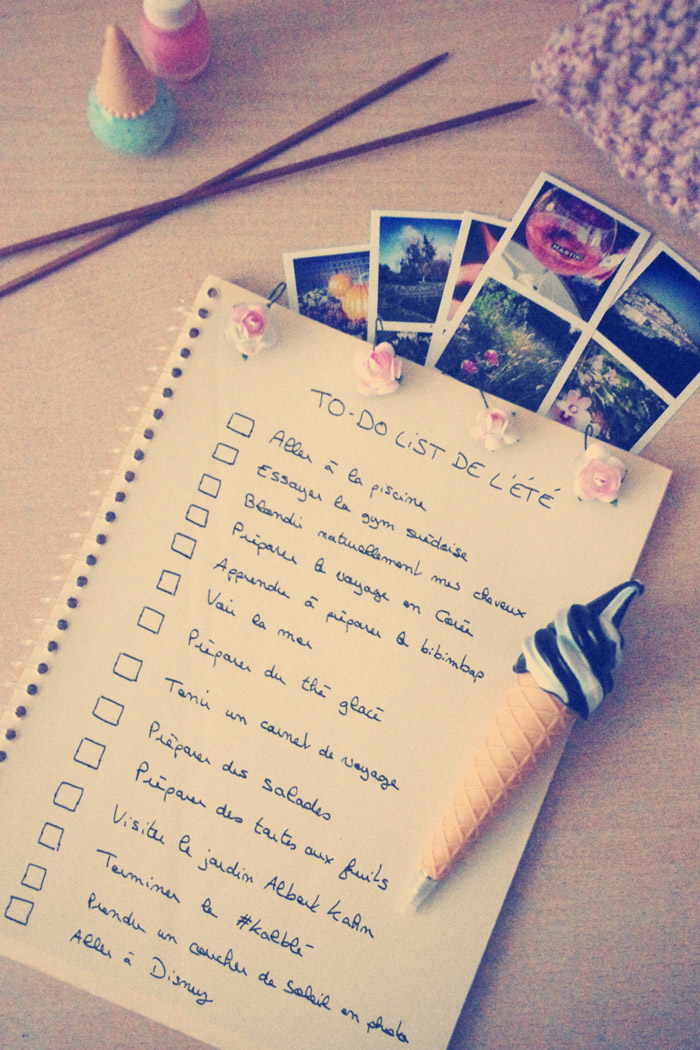 to-do list de l'été